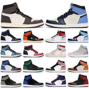 Mens scarpe da basket 1s alta og Obsidian Reale Toe Nero bianco Rust Rosa UNC Tie Dye Chicago 1 uomini donne allenatori sportivi scarpe da ginnastica