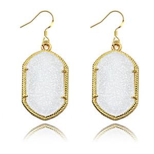 Gold Bezel Kendra Style Signature Earrings Bling Bling Geometry Statement Earrings Fashion Dangle Earrings For Women 8 Colors