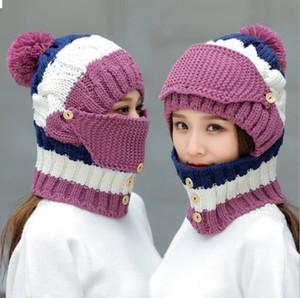 Style d'hiver avec chapeau de cyclisme rembourré en molleton Foulard Foulard One-Pio Pièce Capuchon de laine Femme Protection de l'oreille Traye Chapeau tricoté Fashion
