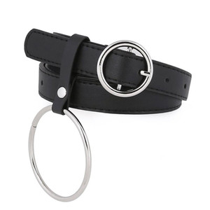 Round Buckle Ring Leather Belt Decoration Girl Pin Buckle Simple Leather Belt Slender Women