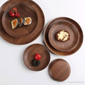 Rectangle Beech Wood Food Dishes Kitchen Black Walnut Round Bread Snack Plates Fruit Cake Pizza Tea Trays Hotel Serving Trays Bh1616 Tqq