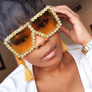 übergroße Sonnenbrille der Frauen Vintage-Diamant-Platz Luxuxfrauenuhr Gläser Schatten Modemarke Designer Italien weibliche Sonnenbrille