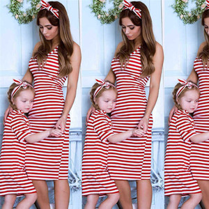 HOT Selling New Mother Daughter Striped Vest Dresses Mommy and Me Dress Clothes Sleeveless Family Look Mom and Daughter Dress