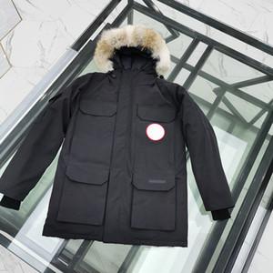 2020 Inverno de Down Parka Homme Jassen Chaquetas Casacos Big Fur com capuz Fourrure Manteau Canadá Down Jacket Expedição Brasão Hiver Doudoune