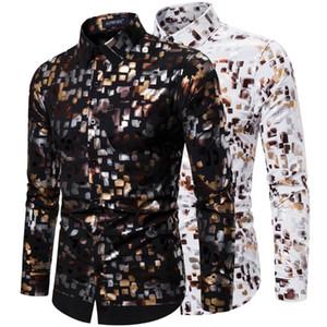 Men's Shirts Spring 2020 Club Fashion Flash Gold Stretch Men's Long Sleeve Shirt