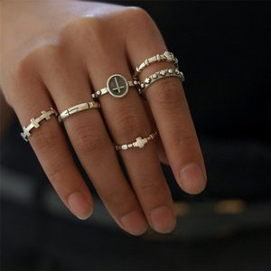 6Pcs Set Simple Women Rings Cross Heart Engraved Knuckle Silver Color Ring Set Fashion Dance Party Jewelry Accessories