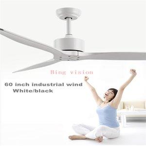 60 inç beyaz Sanayi Vintage Tavan Fan Ahşap Işık Ahşap Tavan Hayranları Dekor Uzaktan Kumanda ventilador De Teto 220v olmadan