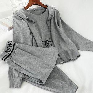 base de 5FVlf coreano New estudante ocasional terno soltas encapuzados colete Harlan calças até os tornozelos conjunto coat casaco colete de três peças