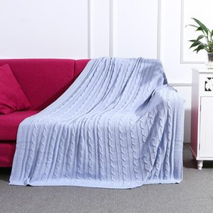 Cozy Cotton Knitted Baby Blanket Pure Color Soft Sofa Travel Picnic Blanket Home Decorative