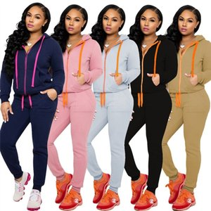 Womens Langarm Two Piece Set Trainingsanzug Outfits Jogging Sportsuit Hoodie Sportswear Sweatshirt Bodycon Shirt Hose KLW4912