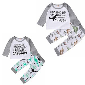 INS Baby Clothes Letter Dinosaur Boy Tops Pants 2pcs Sets Long Sleeve Girls Outfits Boutique Baby Clothing 2 Colors DW5850