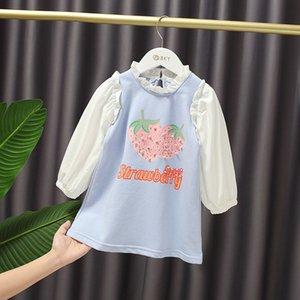 2020 otoño niños de los niños de manga larga fresa letra de la impresión de algodón de los bebés sudaderas recta ocasional vestido vestidos infantis