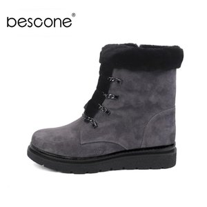BESCONE Ladies Mid-Calf Boots Basic Winter Solid Kid Suede Shoes Handmade Lace-Up Round Toe Square Heel Women New Boots BC438