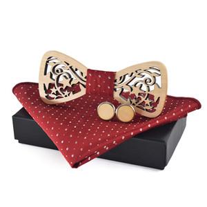 Linbaiway Holz Fliege Box Manschettenknöpfe Taschentuch Set für Männer Bowtie Wood Hollow Geschnitzte Krawatte Hanky Frauen Cravat
