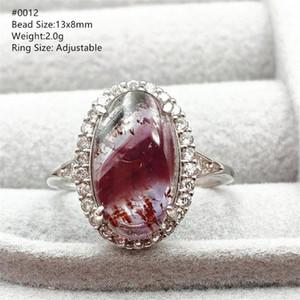 حقيقية Cacoxenite الطبيعية Auralite 23 أرجواني أحمر الحجم قابل للتعديل حزام rutilated الكوارتز 925 فضة البيضاوي الخرز النادرة
