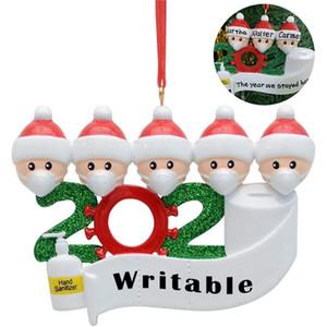 2020 Quarantine Natale Compleanni decorazione della festa di Babbo Natale con la mascherina personalizzata Famiglia distanze Hanging Ornament Decor DDA529