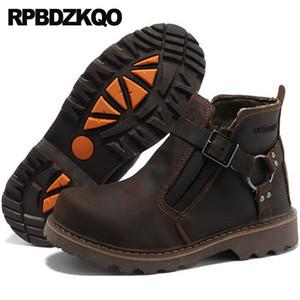 Vintage Harness Tam Tahıl Deri Tasarımcı Kış Erkekler Boots ile Kürk Kısa 2020 Kahverengi Sonbahar Pist Ayak bileği Sıcak Patik Ayakkabı