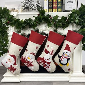 US Stock! Christmas Stockings Santa Socks Gifts Children's Candy Bags Christmas Decoration Home Christmas Tree Decorations FY7178