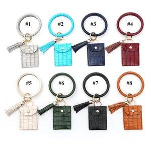 Croco Art-Armband Schlüsselanhänger 10 Farben PU-Lederkrokodilhaut O-Armband mit Münzen-Beutel und Quaste Pandent HHA1300
