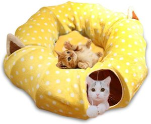 2020 Cat Dog Tunnel Bed with Mat Metacrafter Collapsible 3 Way Cat Tube Condo Play Toy with Peek Hole Fun Ball Interactive Toys