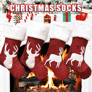 Santa Stocking Sock Candy Bags Christmas Tree Ornament Pendants Linen Gift Bag For Children Fireplace Hanging Decor Party Supply