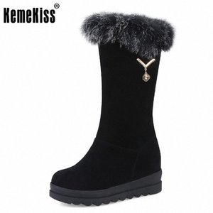 KemeKiss Size 34 43 Women Half Short Snow Boots Thick Bottoms Boots With Warm Fur Shoes Cold Winter Short Women Footwear tFsu#