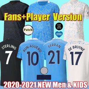 2021 Manchester Fans Player Sterling De Bruyne Kun Aguero city soccer jerseys 20 21 Jesus RODRIGO FERRAN 축구 셔츠 남자 키즈 유니폼
