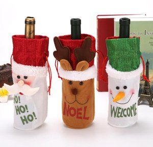 Christmas Red Wine Bottle Cover Drawstring Bag Wine Set Bag Champagne Pouches Gift Bags Flannelette Snowman Deer Bag Xmas Decoration DWC4187
