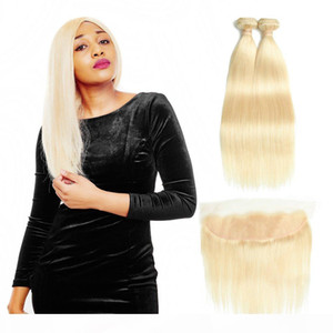 Malaysian Straight Hair Bundles With Lace Frontal Closure 613 Blonde Human Hair Frontal with Baby Hair 3 Bundles With Closure Remy Extension