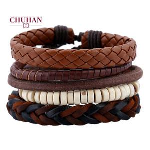 Rope Chuhan Punk Uomini mano il braccialetto di cuoio Vintage Woven Leather Bracele fascino del tessuto di Uomini Bracciali Femme Maschio Gioielli J220