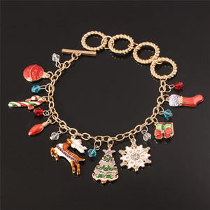 Hot Christmas Gift Charm Bracelet Pulseras Elk, cane snowflake Christmas tree, stockings charms gold color women bracelet femme