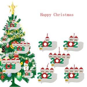 2020 adorno de navidad personalizada superviviente de la familia 1 2 3 4 5 Decoración PVC Máscara lavado a mano de Navidad colgante del árbol de transporte marítimo de IIA676