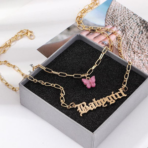 Fashion Double Layer Angel Babygirl Letter Pendant Necklace Women Blue Pink Acrylic Butterfly Necklace fashion jewelry