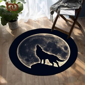 BeddingOutlet Wild Animal Round Carpet Howling Wolf Floor Mat Colorful Living Room Rug Non-slip Moon 3D Area Rug Dropshipping