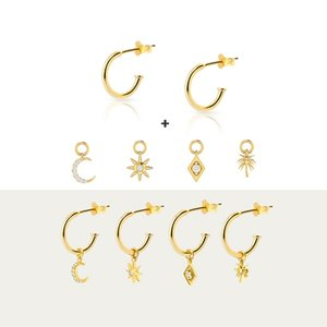 Stud Real 925 Sterling Silver Earrings For Woman Anniversary Engagement 6PCS Minimalis Earring Piercing Pendients