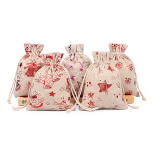 2020 عيد الميلاد الرباط أكياس القطن الكتان المحافظ عيد الميلاد نمط طباعة هدايا هدية الحقيبة الجوت كيس الاطفال حقيبة التخزين حقيبة كاندي المحافظ D9809