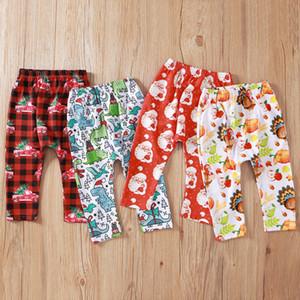 Kız Bebek Pantolon Noel Noel Baba Baskılı Pantolon Dinozor Kabak Kırmızı Otomobil Cadılar Kid Harem Pantolon