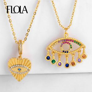 FLOLA золото 24K греческого глаз ожерелье золото цепь CZ ожерелье сердца Сглаз кулон с ювелирными изделиями Шарма греческого Olho Grego nkep53