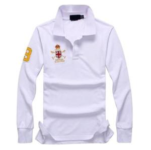 2020 New Mens Solid Polo Shirt Big Horse Embroidery United Kingdom Long Sleeve Man Casual T-Shirt Fashion Cotton Slim Fit Polos Boys Jerseys
