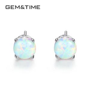 GemTime delicato rotonda White Opal Orecchini per le donne Argento 925 orecchini belle gioielli Pendientes Mujer SE0278