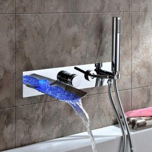 ROLYA 도매 새로운 도착 벽 LED 폭포 욕조 수도꼭지 욕조 필러 목욕 탭을 장착