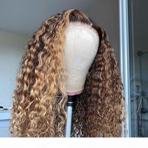 full lace Brazilian Bouncy Curly Ombre 360Lace Frontal Human Hair Wig with Baby Hair 13x6 Lace Front Wigs for Women Natural Hairline
