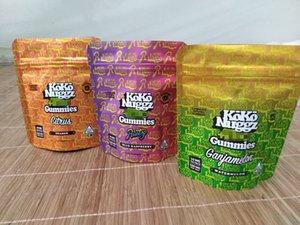2020 koko nuggz gummies edibles packaging bag 500mg zipper resealable stand up pouch smell proof mylar plastic custom print