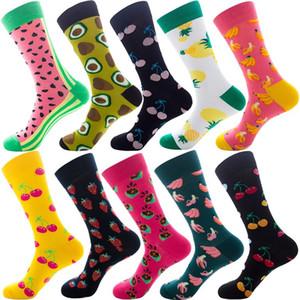 HOT 10color Kombination Weihnachtssocken Karikatur Tier Geometrie gedruckt Socken Unisex beiläufige modische Frucht Socken T500181