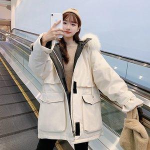 Outdoors Women Winter Down Coat Long Hooded False Fur Windbreaker Loose 2020 New Female Down Jacket Big Pockets T200908