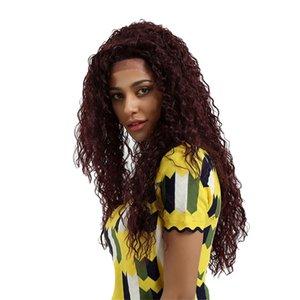 65см Синтетические вьющимися Волнистые парик шнурка фронта волны Hairpieces Natural Wine Red