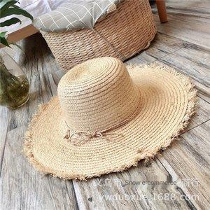 6a2Un Sommerurlaub Frauen große Traufe Lafite Stroh Straw fake fake Strand Hut Sonnenhut Sonnenschutz Strand