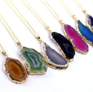 Pedra Natural Pingente Onyx Encantos Pingentes Multicolor fatia irregular Natural Agat Crystal Stone Quartz Pingente DIY Fit Colares