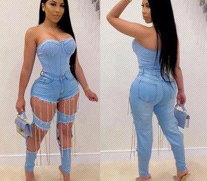 N003 African European and American New Womens Chain Hand-Worn Womens Denim Trousers Nightclub99