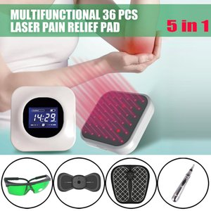 LASTEK 5 in 1 Home Care Tools Kit 36 Lasers Pain Relief Therapy Device 808nm goggles Meridian Acupuncture Pen EMS Foot Pad Cervical Massager